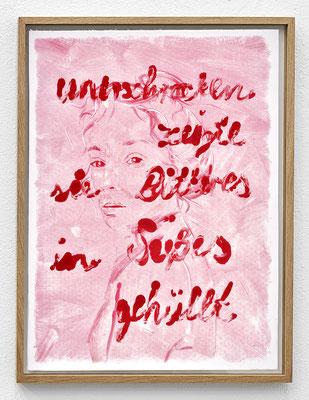 """""""Unerschrocken zeigte sie Bitteres in Süßes gehüllt."""" Monotypie, Ölfarbe auf Papier, 76 × 56 cm, 2017"""