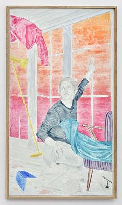 """""""Vorwärts bald schaute sie zum Untergang, bald rückwärts, schaute sie zum Aufgang."""" Monotypie, Ölfarbe auf Papier, 252 × 141 cm, 2017"""