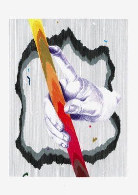 ('{ImV})   Graphit und Buntstifte auf Papier, 29,7 × 21 cm, 2017