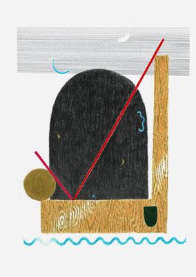 (o`⁄_I~)   Graphit und Buntstifte auf Papier, 29,7 × 21 cm, 2017