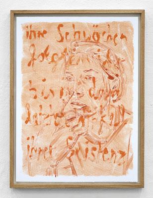 """""""Ihre Schwächen folgten ihr bis in den letzten Winkel ihrer Existenz."""" Monotypie, Ölfarbe auf Papier, 76 × 56 cm, 2017"""