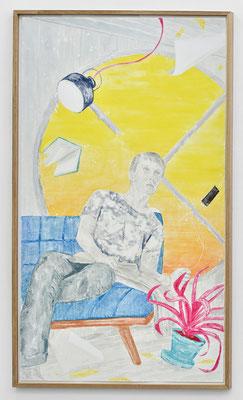 """""""Vorwärts bald schaute er zum Untergang, bald rückwärts, schaute er zum Aufgang."""" Monotypie, Ölfarbe auf Papier, 252 × 141 cm, 2017"""