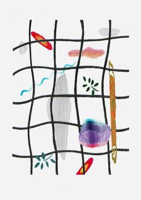 (#~I«o)   Graphit und Buntstifte auf Papier, 29,7 × 21 cm, 2017