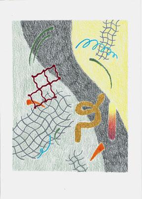 (c#&i,)   Graphit und Buntstifte auf Papier, 29,7 × 21 cm, 2017