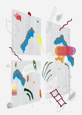(~/+,´)   Graphit und Buntstifte auf Papier, 29,7 × 21 cm, 2017