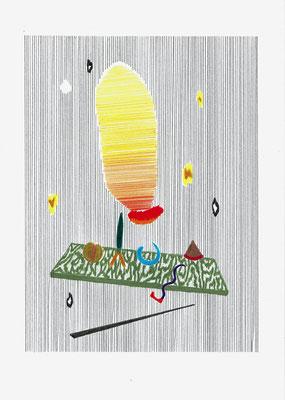 (¨{}≠',)   Graphit und Buntstifte auf Papier, 29,7 × 21 cm, 2017