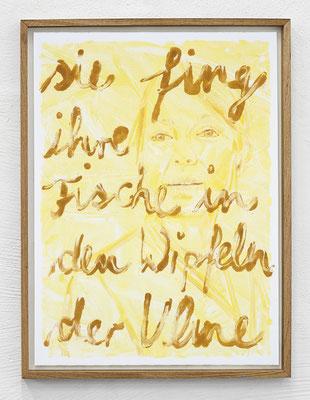 """""""Sie fing ihre Fische in den Wipfeln der Ulme."""" Monotypie, Ölfarbe auf Papier, 76 × 56 cm, 2017"""