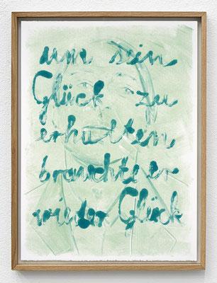 """""""Um sein Glück zu erhalten, brauchte er wieder Glück."""" Monotypie, Ölfarbe auf Papier, 76 × 56 cm, 2017"""