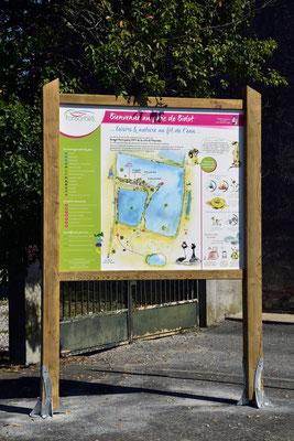 panneaux pédagogiques, nature, zone humide, accueil, carte illustrée, illustrations, graphisme, texte, conception, rédaction, illustration