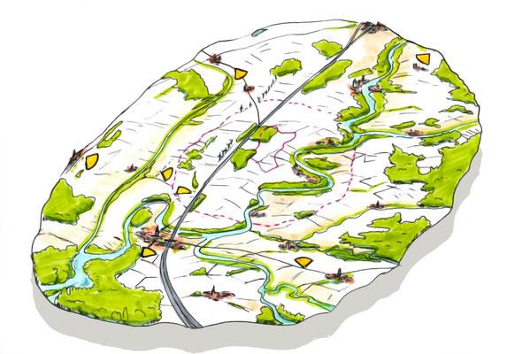 bloc diagramme paysager, paysage, nature, illustration
