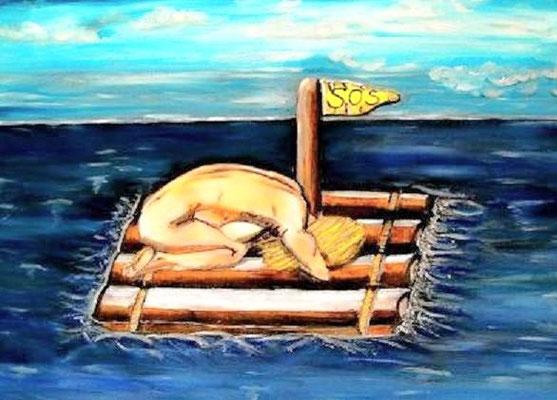 SOS - 70 x 50 x 3 cm - 280,-- Einsame, nackte und hilflose Frau treibt mit dem Floss auf offener See. Die Wellen klatschen an die Bohlen, die Fahne weht im Wind. Wann ist Rettung in Sicht?