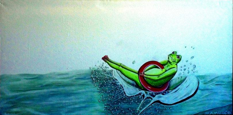 Platsch - 100 x 50 x 3,8 cm - 390,-- Mit Hilfe einens roten Schwimmrings wagt der dicke Frosch den Sprung ins Wasser. Platsch; schon ist er drin - das die Wassertropfen nur so spritzen. Und das grüne Tier schaut verdutzt.