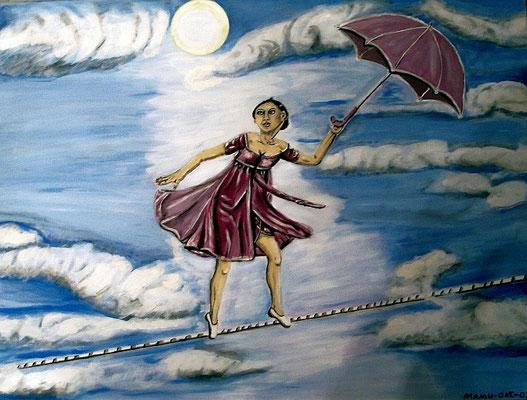 Balance - 80 x 60 cm - 280,-- Das Leben ist manchmal wie ein Drahtseilakt. Diese Frau aber scheint - hoch in den Wolken - völlig angstfrei und beinah schwerelos über das Seil zu balancieren.