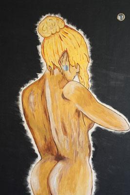 Stehender Akt - 100 x 70 cm - 400,-- Nackte Frau, vielleicht nach dem Baden? Der schwarze Hintergrund lässt die Figur noch deutlicher hervortreten. Besonderheit dieses Bildes sind zwei kleine eingefügte Spiegel. Zwillingsbild zum Sitzenden Akt.