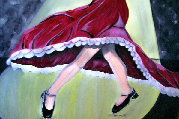Flamenco - 100 x 70 cm - 420,-- Temperamentvoll gleiten ihre Füße übers Parkett während das rote Kleid um ihren Körper schwingt. Fast scheint es, als wollten sich dabei die Beine der Tänzerin verknoten.