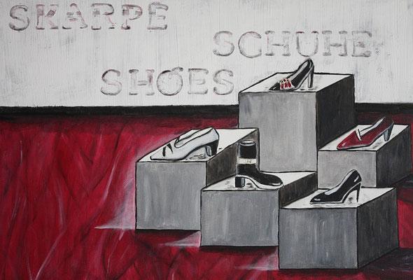 Schuhe - 70 x 50 cm - 250,-- Attraktives Werk in Rot. Naive Pumps, Sandalen, Highheels und Stiefel wurden kunstvoll arrangiert. Die Wand im Hintergrund ist gespachtelt und die Schriftzüge eingestanzt.