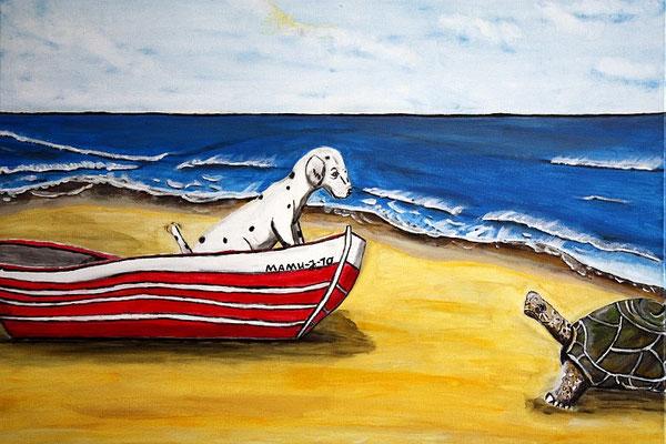 """Begegnungen - 70 x 50 cm - 250,--  """"Huch, wer bist denn Du?, scheint der kleine Hund zu fragen, als er die Riesenschildkröte entdeckt. Vom sicheren Boot aus, kann er das unbekannte Tier zaghaft schwanzwedelnd begrüßen. Ein symbolträchtiges Werk."""