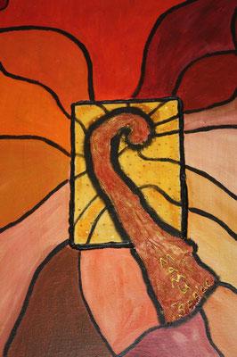 Farbenfrohe Phantasie - 30 x 20 cm - 150,-- Dieses farbenfrohe Werk besticht durch seine phantasievolle Mitte. Das Zentrum besteht aus einem aufgesetzten gelben Malkarton. Darauf liegt ein aus Mull u. Strukturpaste gearbeitetes Objekt.