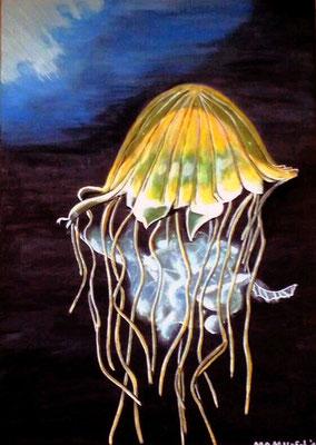 Schwerelos - 70 x 50 cm - 250,-- Gemächlich gleitet die gelbe Qualle durch das tiefblaue Meer. Unter Wasser ist es still und friedlich -diese Ruhe soll sich auf den Betrachter übertragen.