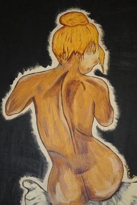 Sitzender Akt - 100 x 70 cm - 400,-- Nackte Schönheit in der Rückansicht. Der schwarze Hintergrund hebt den Körper der Dame noch mehr heraus. Zwillingsbild zu Stehender Akt.
