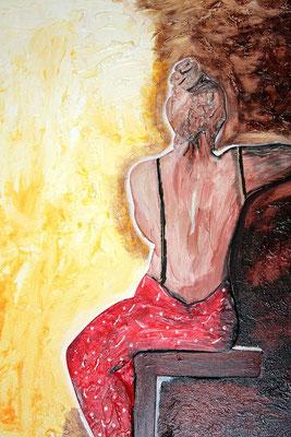 Ein schöner Rücken.. - 30 x 20 cm - 160,-- Attraktive Dame aus Holz sitzt wartend im Abendkleid auf einem Hocker. Der Hintergrund ist mit Spachtelmasse bestrichen und dann bemalt worden. Ein schönes Werk über Licht und Schatten in kräftigen Farben.