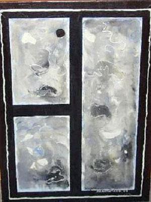 Phantasie in Silber - 80 x 60 cm - 280,-- Interessantes Werk, das je nach Lichteinfall eine andere Wirkung erzielt. Der Untergrund wurde im sanftem Blau gemalt. Die darüber liegende Schicht wurde weiß abgemischt. Auf dieser Struktur laufen feine Linien.