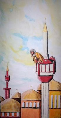 Der Ruf des Muezzin - 100 x 50 x 3,8 cm - 390,-- Accyl