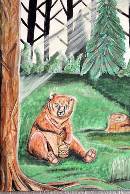 Im Wald - 70 x 50 cm - 250,-- Kleiner Bär, der honigschleckend mitten auf einer grünen Lichtung sitzt. Sein Blick ist kritisch. Schließlich gehört ihm der Topf ganz allein.