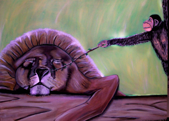 Trügerischer Frieden - 80 x 60 cm - 280,-- Vorwitziger Affe kitzelt einen scheinbar schlafenden Löwen an der Nase.