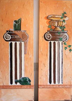 Säulen: Flasche & Topf Zwillingsbilder je 120 x 40 - zusammen 550,--