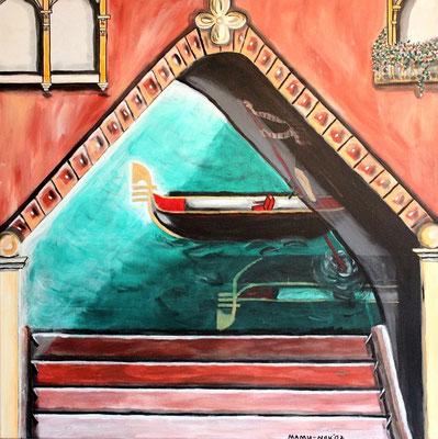 Venedig - 60 x 60 cm - 270,-- Der Canale Grande in Venedig aus einer anderen Perspektive. Gemächlich schiebt sich die Gondel aus dem Schatten ins gleisende Licht und lässt das Gold am Boot erstrahlen.