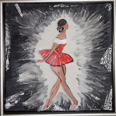 Ballerina - 45 x 45 cm gerahmt - 190,-- Eine kleine aufgesetzte Tänzerin aus Holz bewegt sich anmutig im Scheinwerferlicht. Die Strahlen wurden teilweise mit silberner Effektfarbe herausgearbeitet.