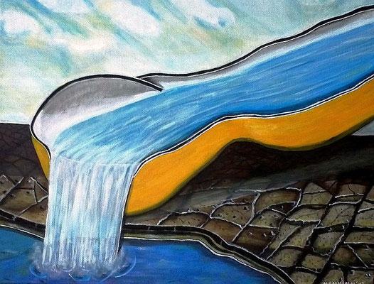 Wasser - 90 x 70 cm - 350,-- Gesellschaftskritisches Werk über die Schenkung des kostbaren Gutes im Dürregebiet. In dem abstrakten Bild läuft Wasser über eine riesige Kelle in ein Erdloch. Der entstandene See lässt bald das brachliegende Land grün werden.