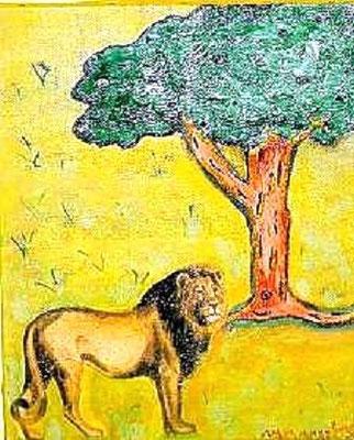 Löwe - 30 x 20 cm Nicht mehr verfügbar! Der Löwe besteht aus bearbeiteter Serviertentechnik; der Baum ist mit Spachtelmasse plastisch gestaltet.
