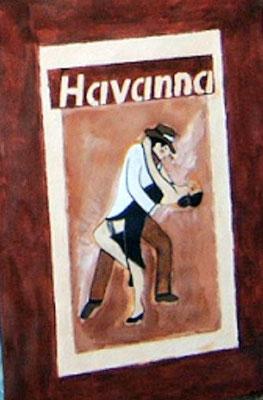 Havanna - 40 x 30 cm Nicht mehr verfügbar! Attraktives Paar - aus Holz - beim Tangotanz. Der Schriftzug wurde aufwendig aus Strukturpaste gestaltet.