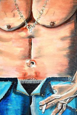 Pancho - 30 x 20 cm - 140,-- Naive Detailansicht eines Männerbauches in sanft abgetönten Farben. Am Gummizug des Slips schauen frech die Haare hervor. Zwischen den Fingern hält der Mann lässig eine Zigarette. Die Kette ist aus silberner Strukturpaste.
