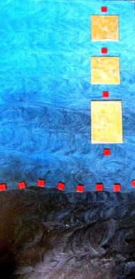 """Simple Blue -100 x 50 cm Nicht mehr verfügbar! Schönes Werk in satten Blautönen. Aufgesetzter Malkarton, mit Strukturpaste und goldener Farbe behandelt, verzieren die rechte Seite. Und dann wandern da noch kleine rote Kacheln durchs """"wabbernde Blau""""......"""
