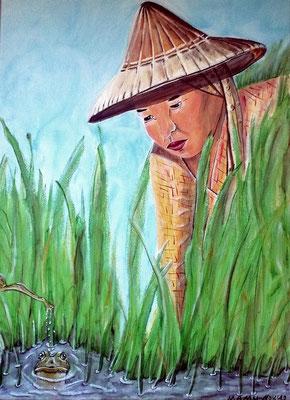 """Im Reisfeld - 70 x 50 cm - 280,--   """"Ooch?"""" - staunt die Reisbäuerin, als sie die Frösche zwischen dem Gras entdeckt. Diese fühlen sich von der Frau gestört, und einer sucht bereits eilig das Weite."""