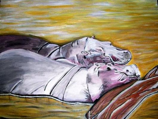 Schlafende Nilpferde - 80 x 60 cm Nicht mehr verfügbar!  Wunderschönes Unikat, das zum Schmunzeln anregt. Die schmusenden Tiere liegen im Tümpel, die Köpfe übereinander, vom morschen Baumstamm gestützt.