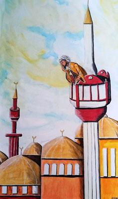 Der Ruf des Muezzin - Acryl - 100 x 50 x 3,8 cm