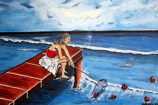 """Searching for Love - 80 x 60 cm - 280,-- Einsam sitzt die Frau auf dem Steg am Meer und versucht die """"Liebe"""" zu erhaschen. Naive Darstellung mit Symbolcharakter."""