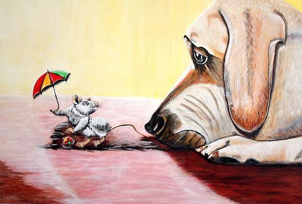 Keep cool - 70 x 50 cm Nicht mehr verfügbar! Die Maus tanzt, spielt mit dem Ball, neckt mit dem Schwänzchen - Nichts zu machen: der Hund schaut weiterhin traurig und desinteressiert