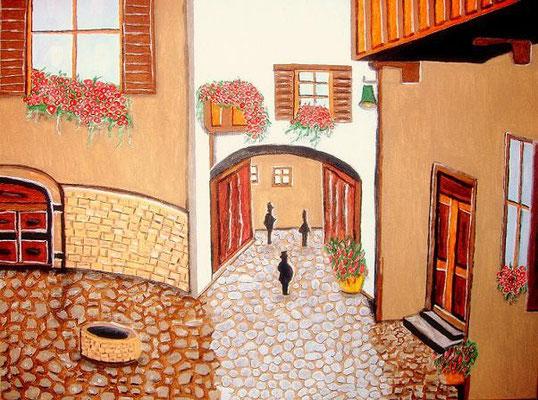Erinnerung - 80 x 60 cm Nicht mehr verfügbar! Kleine Piazza in Italien mit Kopfsteinpflaster, einem Brunnen und vielen Blumen. Die Passage lädt ein, ebenfalls durchgehen zu wollen. Schöne erdige Farben lassen in dem Bild den letzten Urlaub wach werden.