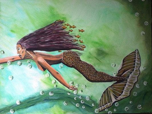 Dream - 130 x 100 x 3,8 cm - 750,-- Phantasievolles farbintensives Gemälde über eine traumhafte Unterwasserwelt mit vielen fröhlichen Blubberblasen, gelben Fischen und einer Meerjungfrau auf der Flucht.