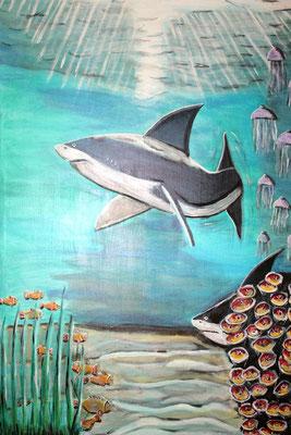 Unterwasserwelt - 130 x 80 cm - 500,-- Stimmumgsvolles Bild in fröhlichen Farben. Die Sonne lässt das Wasser glitzern, bunte Fische tummeln sich am Boden. Noch haben sie das Seeungeheuer und den Hai nicht entdeckt.