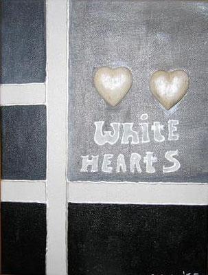 weiße Herzen - 30 x 20 cm - 90,--