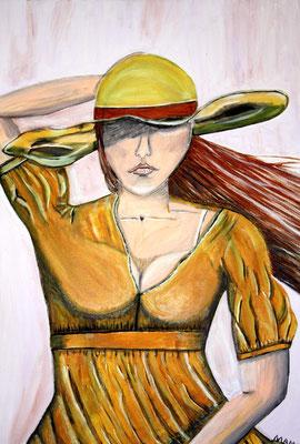 Sturm - 80 x 60 cm Nicht mehr verfügbar! Der Wind ist so heftig, dass der Rock flattert, die Haare fliegen und der Hut festgehalten werden muss. Die gelbe Bluse wird hochgeweht und zeigt ein Stück des gewaltigen Busens. Ein Werk mit Symbolcharakter.