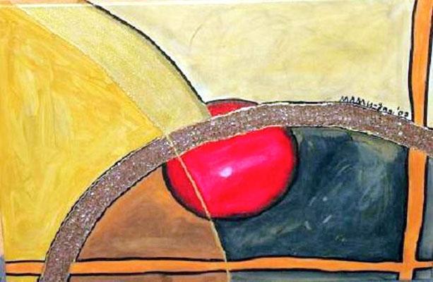 Der Weg, das Ziel - 70 x 50 cm Nicht mehr verfügbar! Symbolisches Werk über das Leben, mit seinen Verführungen, die uns oft vom rechten Weg abbringen Goldene Spuren, steinige Wege, orange Pfade, die locken und vom Ziel ablenken.