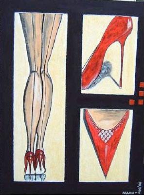 Scarpe di rosso - 80 x 60 cm Nicht mehr verfügbar! Naive Ansicht von bestrumpften Frauenbeinen in Stilettos. Schöne Farbwahl; der schwarze Rahmen in Öl lässt die roten Schuhe noch besser zur Geltung kommen. Kleine Mosaiksteinchen verzieren das Unikat.
