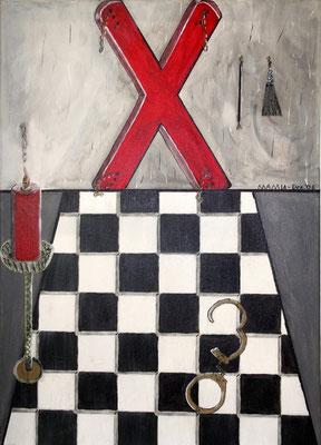 Andreaskreuz - 70 x 50 cm 250,-- Kräftige Farben, marmorierte Wand, gefliester Boden in schwarz-weiß. Utensilien aus dem Fetischbereich lassen das Bild für sich sprechen.  Der Kerzenständer ist aus Strukturpaste gestaltet.